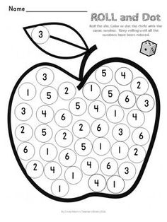 APPLE Math Roll and Dot - FallRoll the die.  Color or dot the circle with the…