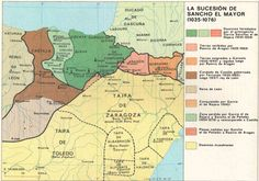 The succession of Sancho the Great Map Of Spain, Historical Maps, World History, Middle Ages, Planer, Spanish, Cartography, Zaragoza, Ancient History