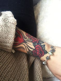 Rose Sand Timer. 1 year old and part of my sleeve❤️