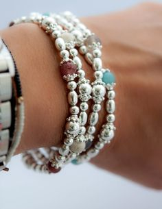 Sterling silver beaded gemstone bracelets