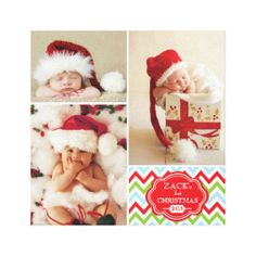 20% OFF! First Christmas Chevron Baby Photo Collage Canvas Print