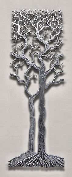 """""""Centuries Tree"""" Organic brushed steel sculpture of an elder tree that is hand cut with a plasma cutter"""