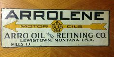 Rare Arrolene Motor Oils Tin Tacker Sign