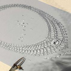 Cartier Étourdissant high jewellery diamond necklace sketch