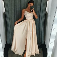 Dressestime.com offers high quality A-Line Spaghetti Straps Pearl Pink Elastic Satin Prom Dress with Appliques, Only $118.99. We have more styles for Prom Dresses.