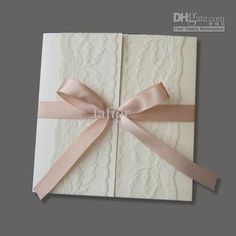 Wholesale Wedding invitations Lace over surface with pink ribbon invitation card wedding invitation cards, Free shipping, $2.42-2.94/Piece | DHgate