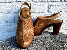 "Excited to share this item from my #etsy shop: Tooled Leather Clogs Slingback 3.75"" High Heel Southwestern Western Boho Chic Bohemian Hippie Comfort Shoe Ethnic Latin Dress"