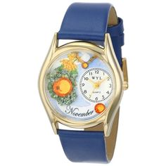 Whimsical Women's Birthstone: November Royal Blue Leather Watch. #november #birthday #gift