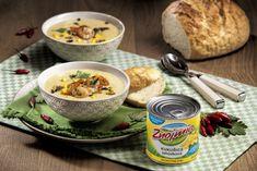 Kukuřičná polévka s krevetami a kokosovým mlékem Grains, Rice, Eggs, Meat, Chicken, Breakfast, Food, Hermes, Morning Coffee