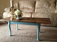 DIY Coffee table makeover - we could do something like this and paint the legs to match the walls!!