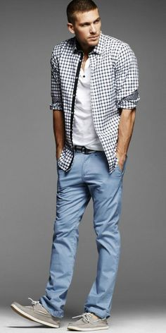 checkered shirt, light blue canvas pants, grey boat shoes
