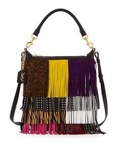 V2RE6 Saint Laurent Emmanuelle Small Leather Fringe Hobo Bag, Black/Multicolor
