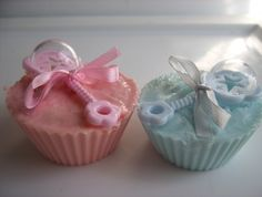 baby Boy and baby girl cupcake soaps. pack of 2
