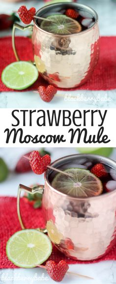 My FAV Valentine's Day cocktail! Strawberry Moscow Mule with strawberry, ginger, lime flavors and vodka! SO good! Recipe by www.blackberrybabe.com