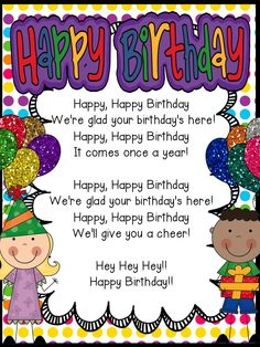 Happy Birthday Song Freebie Classroom Birthday, School Birthday, Birthday Songs, School Classroom, Classroom Decor Themes, Classroom Organization, Classroom Ideas, Classroom Design, Classroom Management