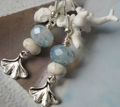Blue Skies Ahead  Silver Ginkgo Leaf White by OceanaireDreamer