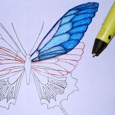 printer design printer projects printer diy Printer Pen Printer Pen DIY Tutorial Create Butterflies - Pen Printer - Ideas of 3d Drawing Pen, 3d Drawings, Impression 3d, 3d Doodle Pen, Boli 3d, 3d Pen Stencils, Stylo 3d, 3d Printing Diy, Art And Craft