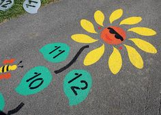 "Size: Approximately 4 feet by 16 feet Let the sunshine in with this happy flower! Hop from space to space using a marker to toss and collect. Hopscotch games strengthen balance and endurance and the use of numbers reinforces mathematical skills. Repeat the stencil to create garden of flowers. Paint the leaves without numbers to create a graphic on the floor or wall and use for creative play. Use with the ""Butterfly Hopscotch"" or ""Caterpillar Hopscotch"" stencil for a nature theme…"