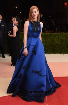 Jessica Chastain's 40th Birthday Elegant Personal Style / Prada / Blue.
