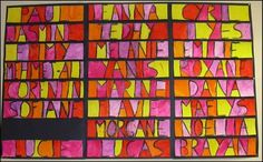names Paul Klee style in warm color scheme