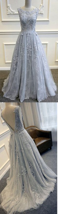 Sexy A-Line Prom Dress,Formal Dress With Appliques,Long Cheap Prom Dresses,Tulle Evening Dress Prom Gowns