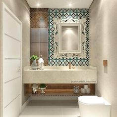 Inspiração para fazer bonito no lavabo {Projeto Carol Cantelli} decoração lavabo