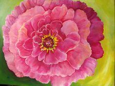 Pink Peony, Original Peony ART, 16 x 20, Original Flower Painting, Big Pink Peony on Green