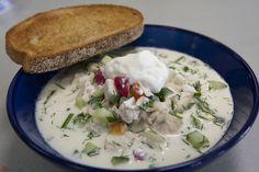 Russian cold soup (Okroshka)