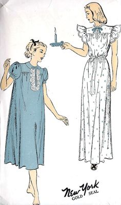 1940s Misses Long Nightgown Vintage Sewing by MissBettysAttic, $24.00