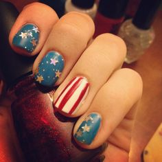 Memorial day nail art- Get creative with Red, White, & Blue nail art for this weekend!