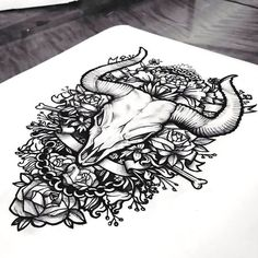 Bull Skull In Roses Tattoo Design