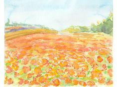 Abstract Flowers, Watercolor Flowers, Watercolor Art, Landscape Artwork, Watercolor Landscape, California Poppy, Original Artwork, Original Paintings