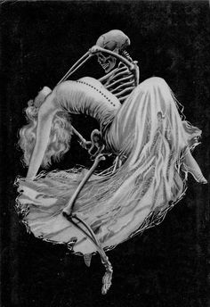 The Body in the Library by Agatha Christie pulp novel cover, death grim reaper Father Time scythe maid girl woman dance danse macabre skull skeleton Vanitas, Agatha Christie, Dark Fantasy, Fantasy Art, La Danse Macabre, Dance Of Death, Skeleton Art, Skeleton Dance, Scratchboard