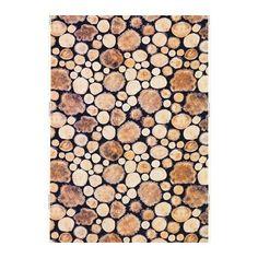 IKEA MARGARETA Fabric Wood log/white/brown 150 cm