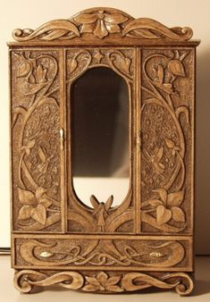 "Minimotion: miniature Fairy armoire - with illusion mirror - the ""illusion"": a castle in pictured in the distance with steps leading toward it, as if you could step through the mirror into another realm."