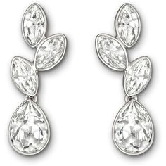 Swarovski Tranquility Silvertone & Crystal Drop Earrings (€76) ❤ liked on Polyvore featuring jewelry, earrings, silver, earring jewelry, evening earrings, crystal jewelry, oval earrings and holiday earrings