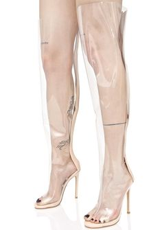 Privileged Clear Thigh High Peep-Toe Boot showin' some skin never bothered yew, bb. Flaunt some leg in these boots that feature a clear thigh high construction, peep-toe design, a skinny stiletto heel, and a zipper goin' up the back.