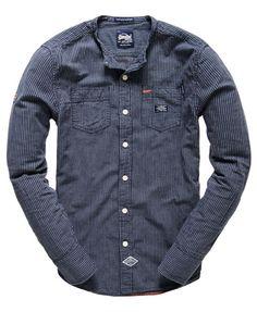 Superdry Steelmans Grandad Shirt Blue