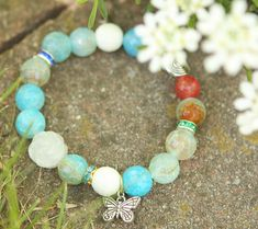 Rose And Butterfly Natural Gemstone Bracelet & by JamiesQuilting, $12.00