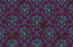 Teal on Plum Damask Distressed fabric by elizabeth on Spoonflower - custom fabric