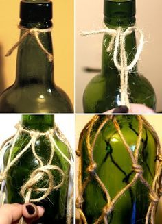 how to knot net around bottle crafts snapple Rope Net Bottle Ideas Wine Bottle Corks, Glass Bottle Crafts, Twine Wine Bottles, Bottle Bottle, Snapple Bottle Crafts, Twine Wrapped Bottles, Wine Bottle Planter, Bottle Opener, Bottles And Jars