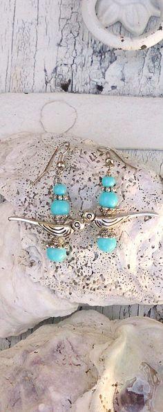 Blue Beaded Bird Earrings Antique Silver by SecretStashBoutique