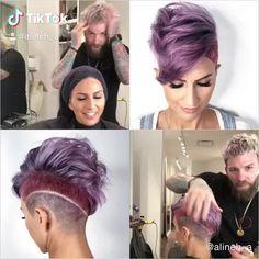 Alineh Avanessian(@alineh_a) on TikTok: #pixiecut #shorthairstyle #shorthairdontcare #shorthairlove #pixiehair #newhaircolour #newhairstyle #haircolorchange Short Sides Haircut, Side Haircut, Pixie Hairstyles, Cool Hairstyles, Shaved Hair Cuts, Cool Hair Color, Hair Colors, Haircut Designs, Pixie Cut