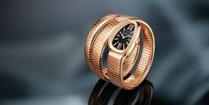 Double-coil Serpenti watch in pink gold, set with 38 diamonds brilliant-cut