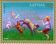 "Pastmarkas temats ir latviešu tautas pasakas – ""Brīnumpasakas"". The illustration on the stamp is from Latvian folktaleks, known as ""Wondertales."""