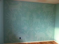 Otomi wall mural-- I love this idea. Maybe do with darker shade with just a glaze or something like that? satin glaze on matte paint. Love love love this idea!