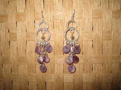 Sterling Silver Wampum bead chandelier earrings handmade #Handmade #Chandelier