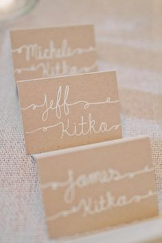 loving the fun calligraphy on these escort cards!