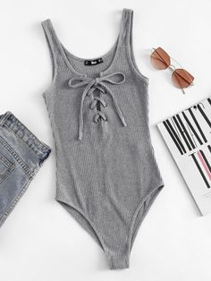Shop Lace Up Front Rib Knit Heathered Bodysuit online. SHEIN offers Lace Up Front Rib Knit Heathered Bodysuit & more to fit your fashionable needs. Fashion Mode, Teen Fashion, Fashion Outfits, Womens Fashion, Fashion Stores, Backless Bodysuit, Grey Bodysuit, Summer Outfits, Cute Outfits