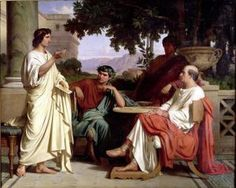Horace Virgil and Varius at the house of Maecenas by Charles Francois Jalabert. Nótese la tableta que usa Horacio